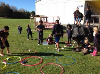 07. Hunter James A and Leroy teaching our Juniors bean bag Knoughts and crosses